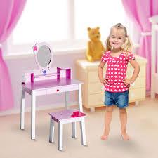 homcom kids wooden dressing table and stool make up desk pink