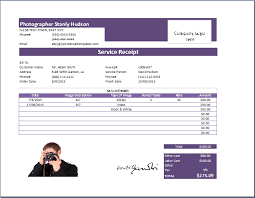 Invoice Template For Photographers Ms Excel Photography Receipt Template Receipt Templates