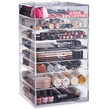 beautify makeup organiser acrylic clear extra large 8 tier cosmetic cube beauty storage organiser with 7