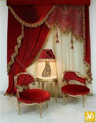 for my theatre room off set treatment with red velvet dries swag fringe tassels