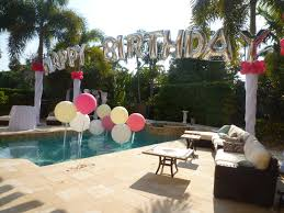 Decorating With Balloons Birthday Balloon Arch Over A Swimming Pool Backyard Party