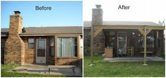 before and after building and installing the patio cover