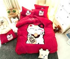 qvc bedroom set fleece sheets twin cartoon cat fabric luxury bedding red bed queen winter product
