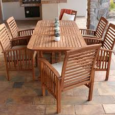 com walker edison solid acacia wood 7 piece patio dining set garden outdoor