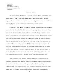 viet se linguistic analysis outline draft final eleanorchin 6 2016 chin 380 dialectsof viet se linguisticanalysis final project 1 viet se analysis