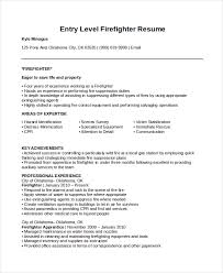 Entry Level Firefighter Resume Free Resume Templates 2018