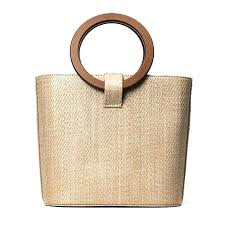 wooden straw new famous designer beach bag totes bucket autumn winter bags with handle berry baskets
