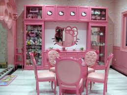hello kitty furniture for teenagers. Sweet Pink Hello Kitty Room Theme For Girls With Round Table And Doll Storage Ideas Furniture Teenagers I