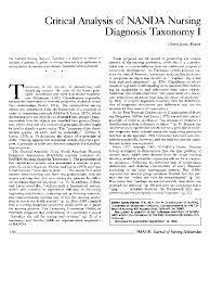Nanda Nursing Diagnosis Pdf Critical Analysis Of Nanda Nursing Diagnosis Taxonomy I