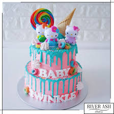 Hello Kitty Ice Cream Drip Cake Hello Kitty Birthday Cakes
