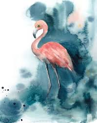 flamingo art print salmon pink and