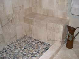 pebble stone shower floor installation bathroom traditional with none