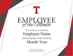 Printable Employee Of The Month Certificates Certificate Of Employee The Month Template Brochure