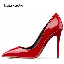 y women red high heels 2017 shiny black sti gold patent leather las basic pumps pointy metallic sliver wedding shoes