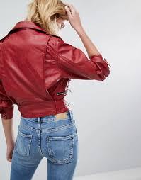 bershka au bershka 80s sleeve cropped leather look jacket women red