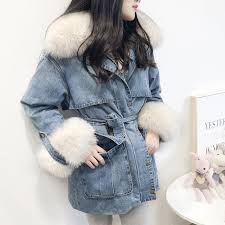 winter jacket women 2018 brand long denim coat large real fox fur collar with 90