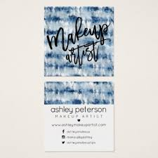 tie dye business cards makeup typography navy blue tie dye watercolor square business card