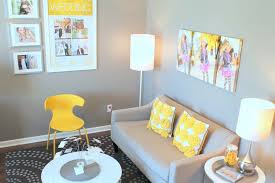 lovely yellow office decor throughout and gray contemporary den library sherwin