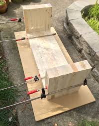 step five once your bench is full assembled as shown keep it clamped and let it dry overnight you ll see that some of the edges aren t even