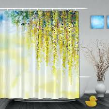yellow and teal shower curtain custom watercolor drawing beautiful yellow flower shower curtains waterproof fabric with