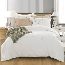 egyptian cotton soft white duvet cover set erfly embroidery bedding set queen king size 4 pcs