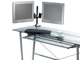 tilt swivel dual monitor desk mount bracket max 17 5 lbs per arm 15 22in black mono com