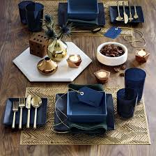 Blue And Gold Table Setting Vivacious Fall Table Design Ideas