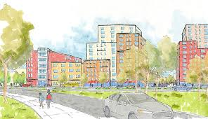 the city owned dinsmore chestnut site will be redeveloped with affordable housing retail