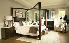 Queen Wood Canopy Bed Frame Dark White Twin Canopy Solid Black ...