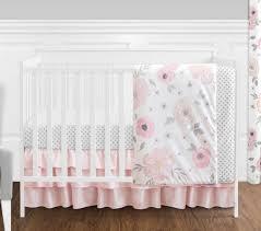 jojo perless shabby chic pink watercolor flower baby girl 4p crib bedding set
