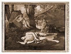 myth summary echo and narcissus by nicolas poussin 1594 1665 narcissus lies dying on the ground as echo helpless watches from behind