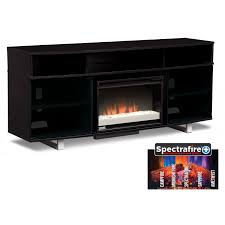 Tv Stand Black Pacer 72 Contemporary Fireplace Tv Stand Black Value City