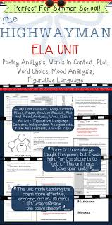 best english the highwayman images figurative   the highwayman unit poetry analysis common core aligned