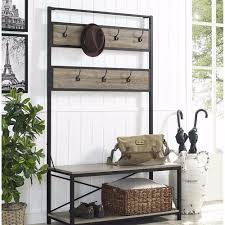 Industrial Style Coat Rack Rustic Industrial Style Hall Tree Bench Metal Wood Furniture Hat 78