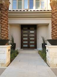 modern double entry doors. Exterior. Dark Brown And Glass Wooden Double Entry Doors With Stainless Steel Handles Connected By Modern