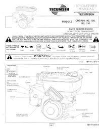 OHSK130 TECUMSEH Snow Blower Engine Owners Manual