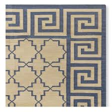 greek key border flatweave rug blue