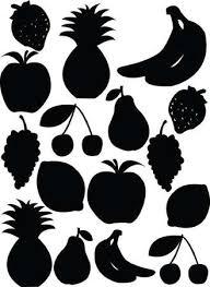 フルーツとベリーの断面シルエット アップル洋ナシ反射とバナナ