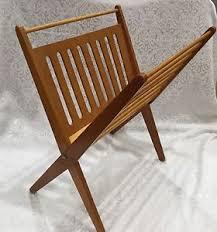 Image is loading Vintage-Mid-Century-Magazine-Rack-Folding-Wood-Nevco-