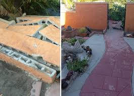before after damaged stucco and block wall