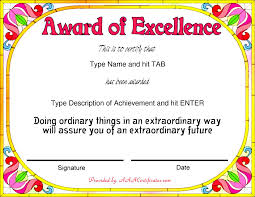 Award Of Excellence Certificate Template Nice Template Word for Award of Excellence with Colorful Flowers and 34