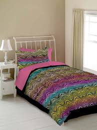 hot pink black zebra print teen girl bedding twin comforter set or bed in a bag colorful rainbow