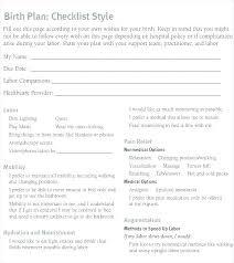 Different Birth Plan Options Hospital Birth Plan Template