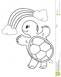 coloring book turtle rainbow and clouds stock ilration ilration of content