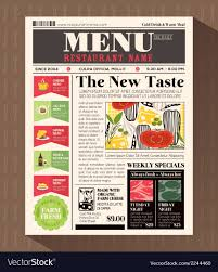 Newspaper Flyer Template Restaurant Menu Design Template In Newspaper Style