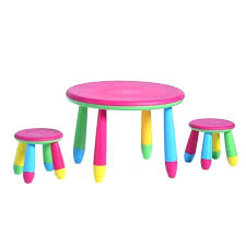 kids round table plastic chair and tablet tablets on