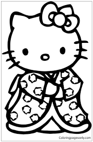 Kitty picture to color,hello kitty color sheet,hello kitty coloring pages free,sanrio coloring book pages. Hello Kitty Japanese Kimono Coloring Pages Cartoons Coloring Pages Free Printable Coloring Pages Online