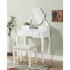 Ashley Wood Makeup Vanity Table and Stool Set - Free Shipping Today -  Overstock.com - 17882090
