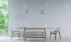 Moderne Weiße Esszimmer Dekorieren Wand Mit Weißen Ziegelstein 3d