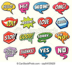 Word Bubble Templates Web Chat Vector Stickers Templates Internet Words Speech Bubbles Isolated